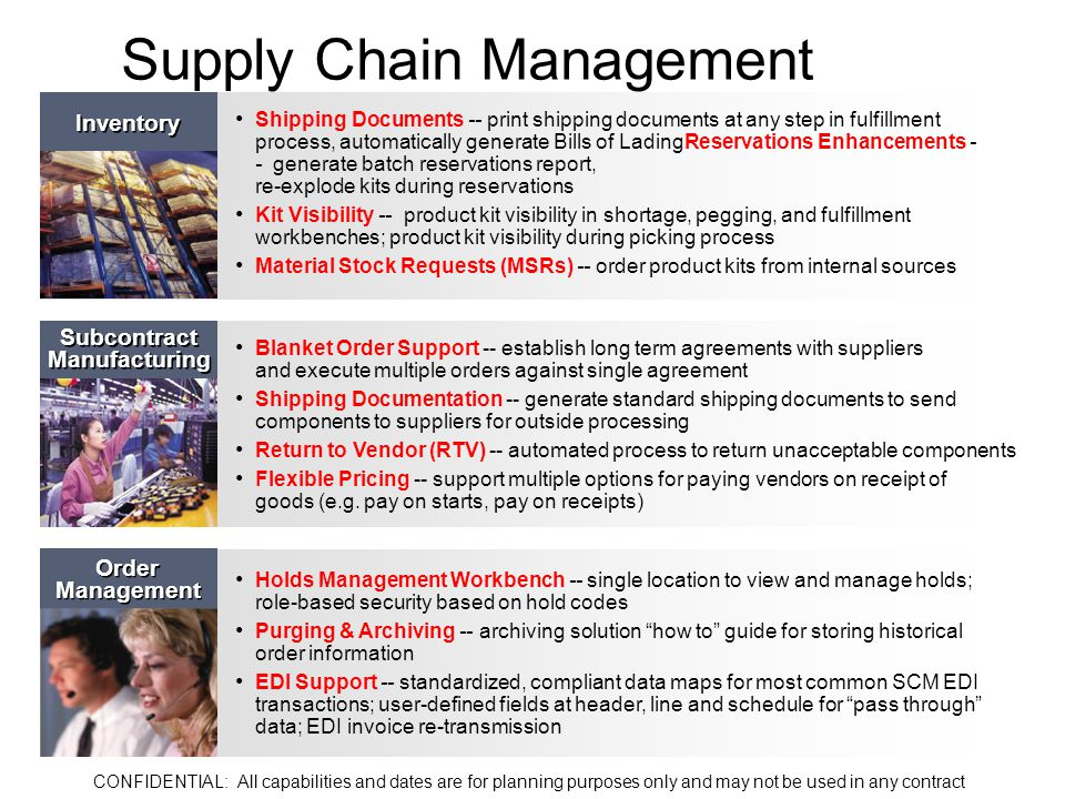 Supply Chain Management Shipping Documents -- print shipping documents at any step in fulfillment process, automatically generate Bills of LadingReservations Enhancements - - generate batch reservations report, re-explode kits during reservations Kit Visibility -- product kit visibility in shortage, pegging, and fulfillment workbenches; product kit visibility during picking process Material Stock Requests (MSRs) -- order product kits from internal sources Inventory Blanket Order Support -- establish long term agreements with suppliers and execute multiple orders against single agreement Shipping Documentation -- generate standard shipping documents to send components to suppliers for outside processing Return to Vendor (RTV) -- automated process to return unacceptable components Flexible Pricing -- support multiple options for paying vendors on receipt of goods (e.g.