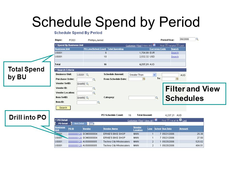 Schedule Spend by Period Total Spend by BU Filter and View Schedules Drill into PO