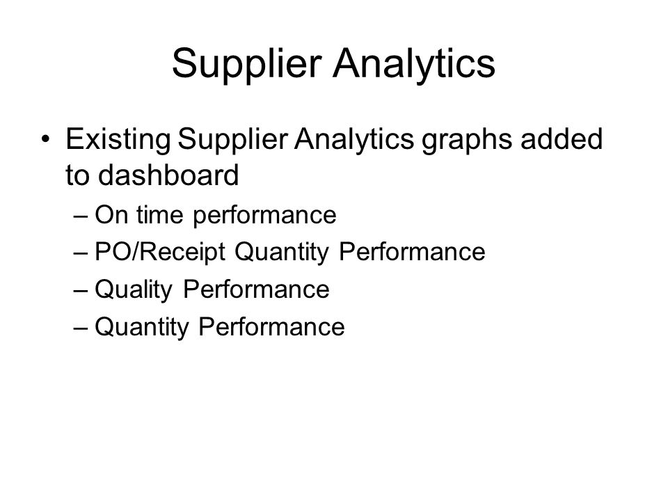 Supplier Analytics Existing Supplier Analytics graphs added to dashboard –On time performance –PO/Receipt Quantity Performance –Quality Performance –Quantity Performance