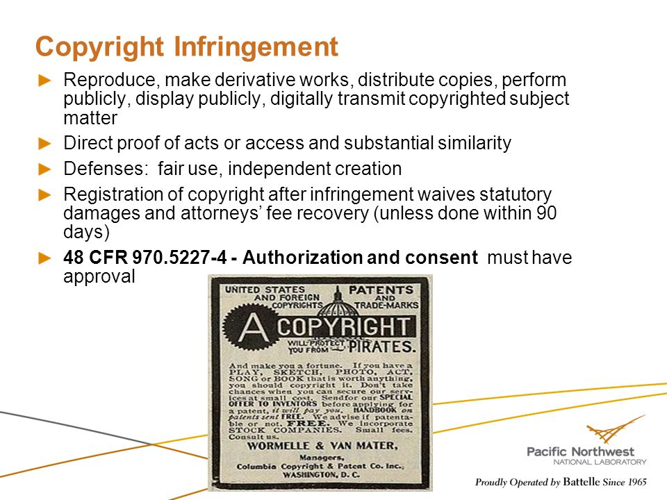 Copyright Infringement Reproduce, make derivative works, distribute copies, perform publicly, display publicly, digitally transmit copyrighted subject