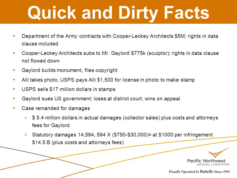 Quick and Dirty Facts  Department of the Army contracts with Cooper-Leckey Architects $5M; rights in data clause included  Cooper-Leckey Architects