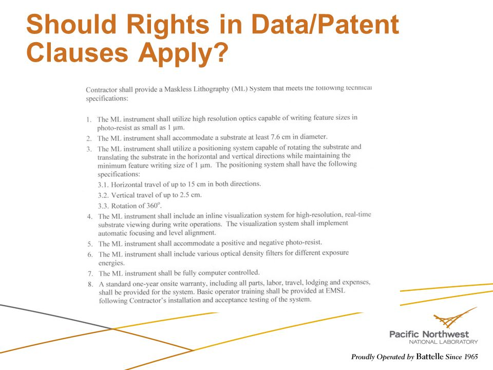 Should Rights in Data/Patent Clauses Apply?