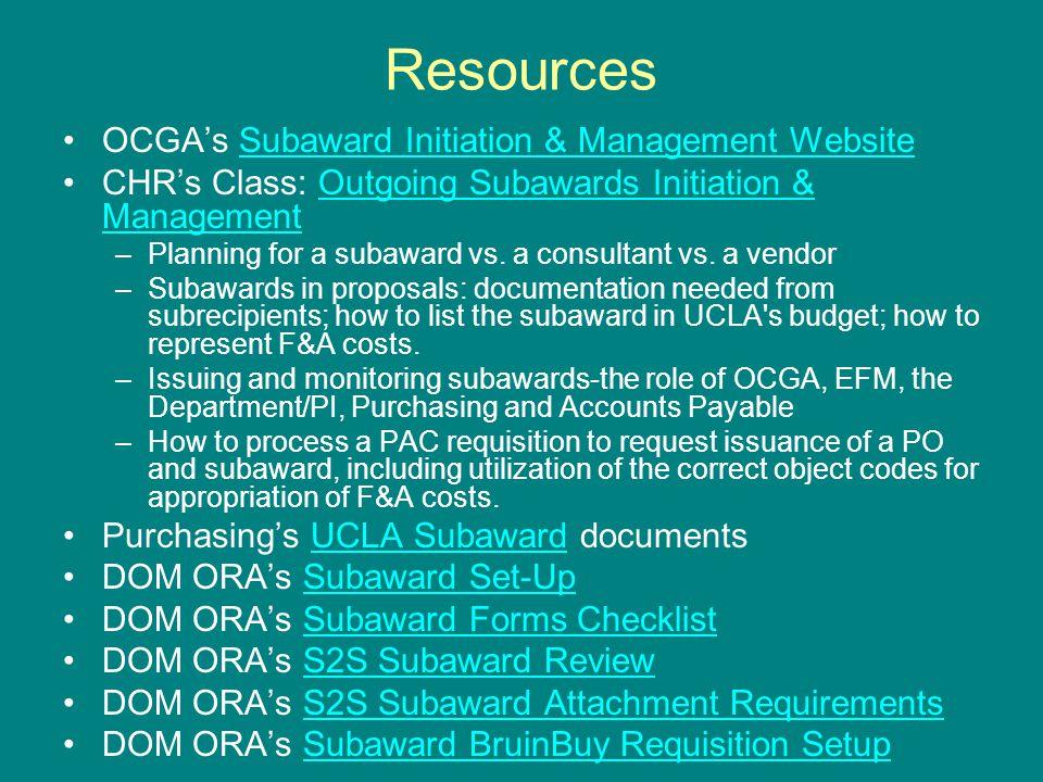 Resources OCGA's Subaward Initiation & Management WebsiteSubaward Initiation & Management Website CHR's Class: Outgoing Subawards Initiation & Managem