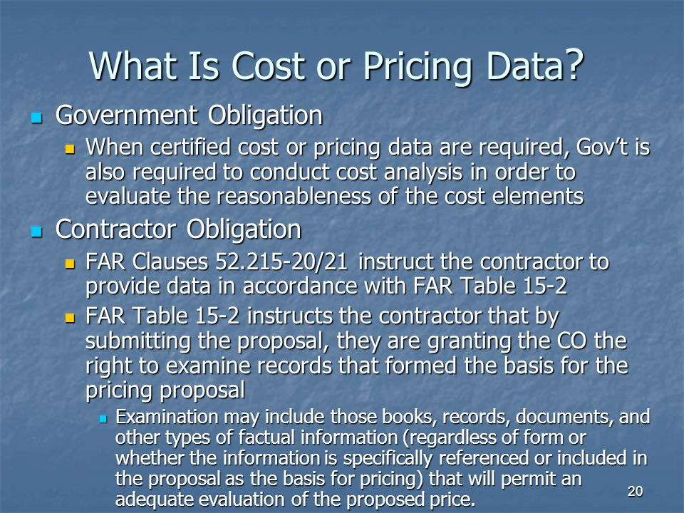 20 What Is Cost or Pricing Data .