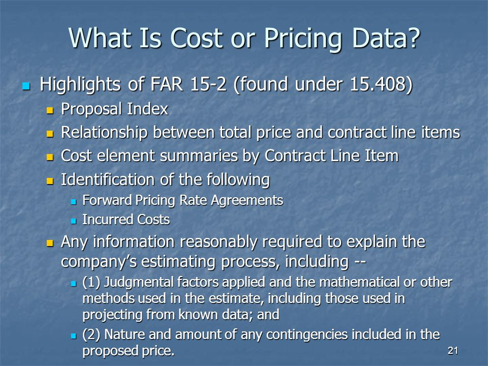 21 What Is Cost or Pricing Data.