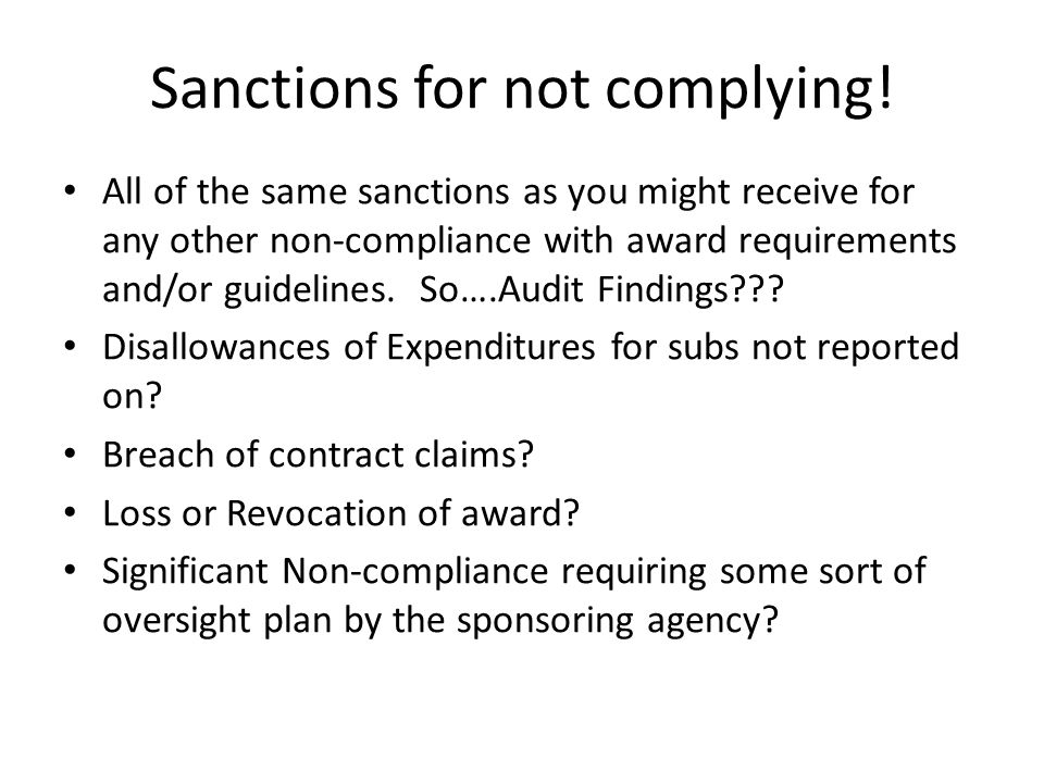 Sanctions for not complying.