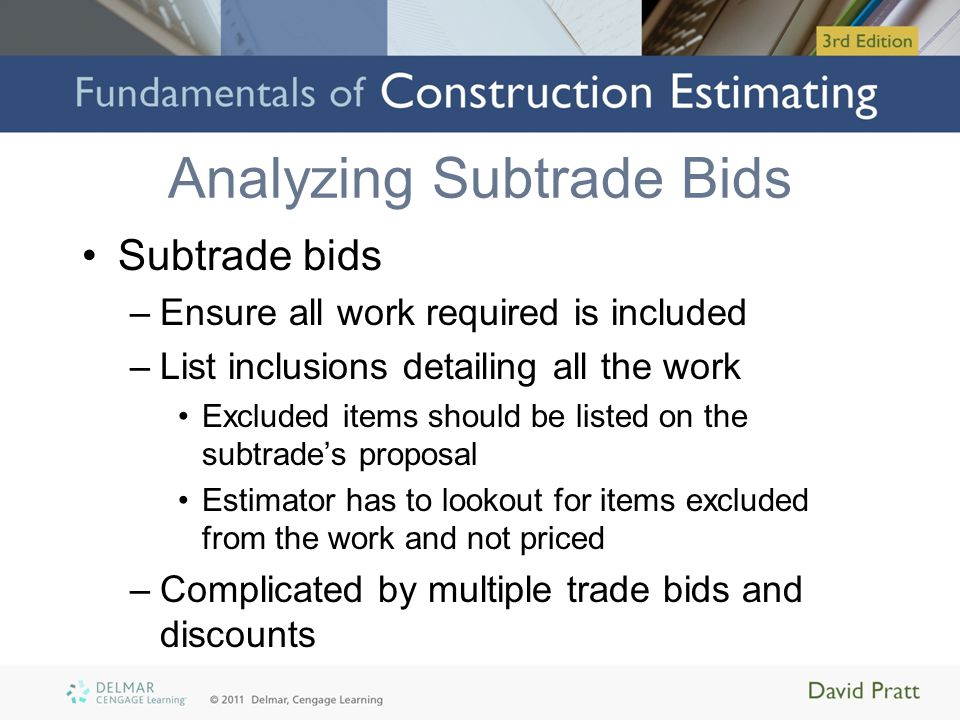 Analyzing Subtrade Bids Subtrade bids –Ensure all work required is included –List inclusions detailing all the work Excluded items should be listed on