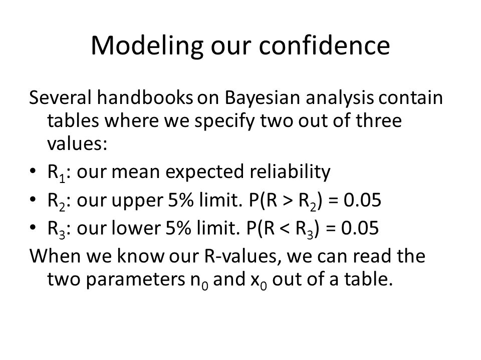 Modeling our confidence Several handbooks on Bayesian analysis contain tables where we specify two out of three values: R 1 : our mean expected reliab