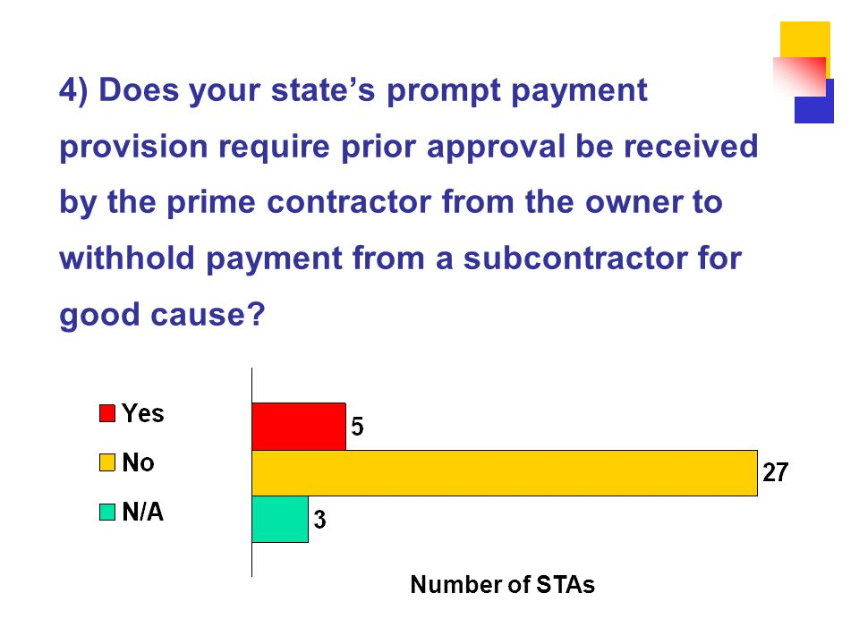 4) Does your state's prompt payment provision require prior approval be received by the prime contractor from the owner to withhold payment from a subcontractor for good cause.