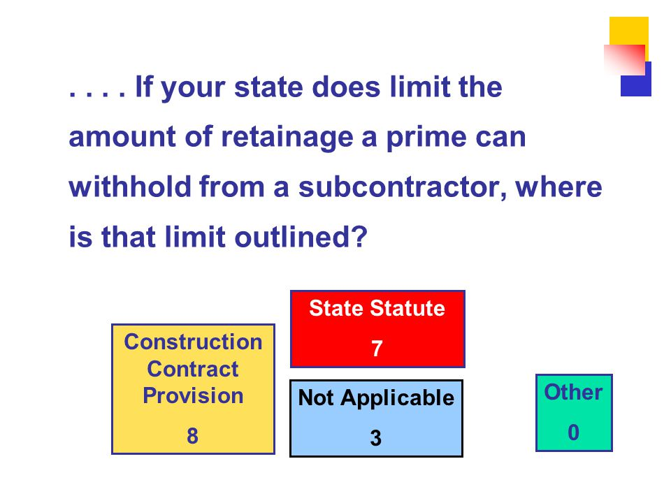 .... If your state does limit the amount of retainage a prime can withhold from a subcontractor, where is that limit outlined? Not Applicable 3 Other