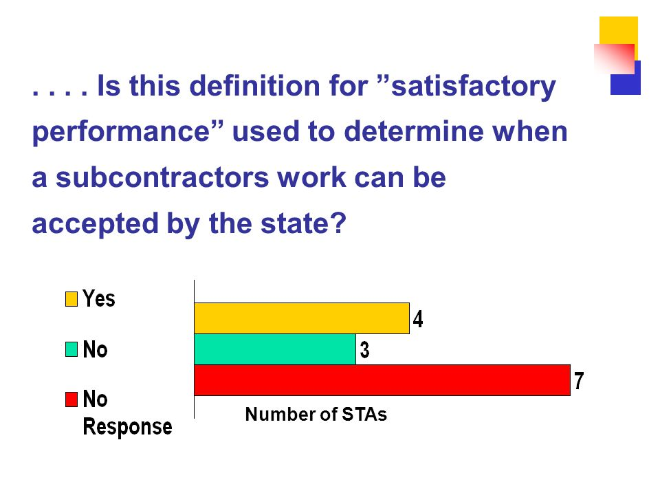 """.... Is this definition for """"satisfactory performance"""" used to determine when a subcontractors work can be accepted by the state? Number of STAs"""