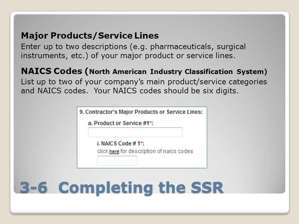 3-6 Completing the SSR Major Products/Service Lines Enter up to two descriptions (e.g.