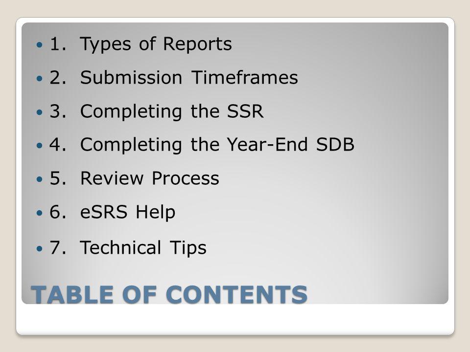 TABLE OF CONTENTS 1.Types of Reports 2. Submission Timeframes 3.