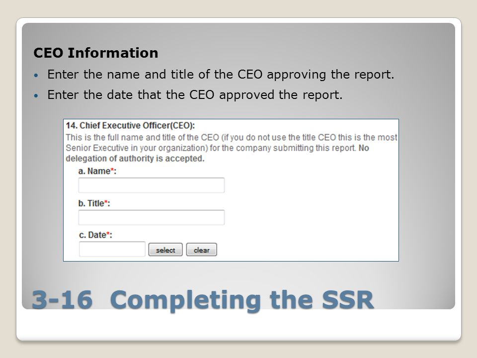 3-16 Completing the SSR CEO Information Enter the name and title of the CEO approving the report.