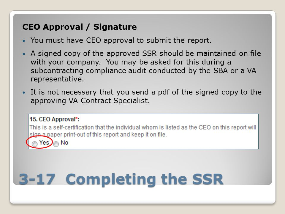 3-17 Completing the SSR CEO Approval / Signature You must have CEO approval to submit the report.