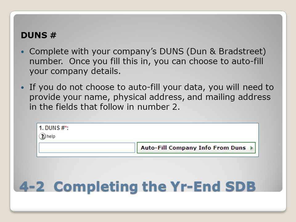 4-2 Completing the Yr-End SDB DUNS # Complete with your company's DUNS (Dun & Bradstreet) number.