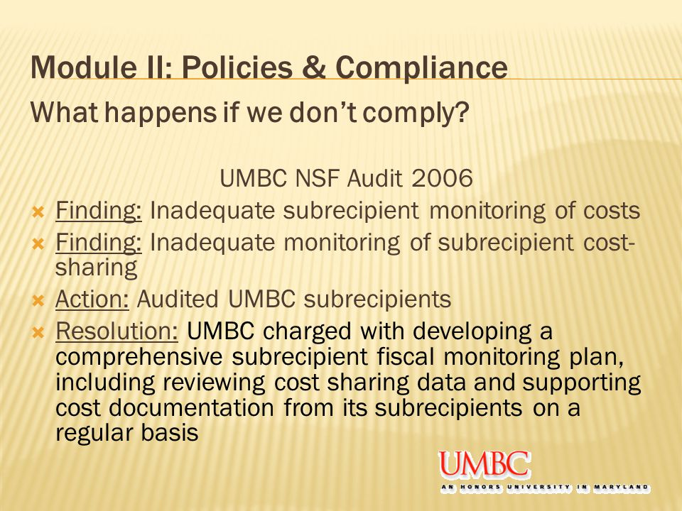 Module II: Policies & Compliance What happens if we don't comply.