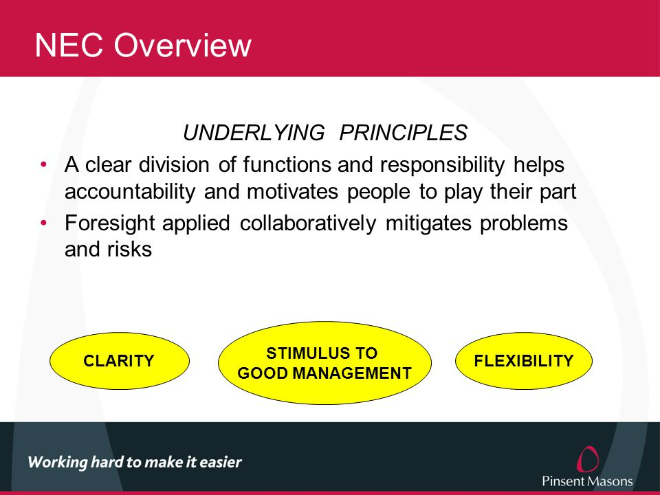 NEC Overview UNDERLYING PRINCIPLES A clear division of functions and responsibility helps accountability and motivates people to play their part Foresight applied collaboratively mitigates problems and risks FLEXIBILITY STIMULUS TO GOOD MANAGEMENT CLARITY