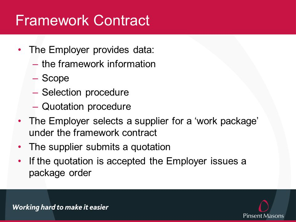 Framework Contract The Employer provides data: –the framework information –Scope –Selection procedure –Quotation procedure The Employer selects a supplier for a 'work package' under the framework contract The supplier submits a quotation If the quotation is accepted the Employer issues a package order
