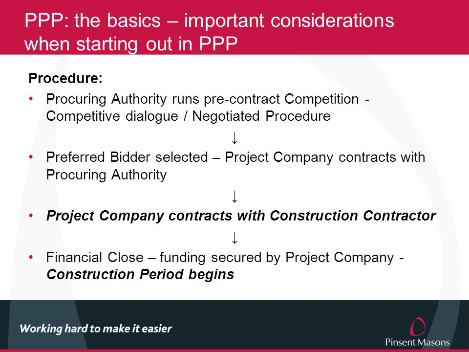 PPP: the basics – important considerations when starting out in PPP Procedure: Procuring Authority runs pre-contract Competition - Competitive dialogue / Negotiated Procedure ↓ Preferred Bidder selected – Project Company contracts with Procuring Authority ↓ Project Company contracts with Construction Contractor ↓ Financial Close – funding secured by Project Company - Construction Period begins