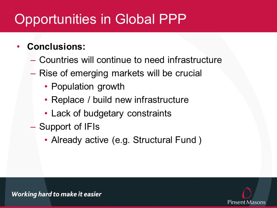 Opportunities in Global PPP Conclusions: –Countries will continue to need infrastructure –Rise of emerging markets will be crucial Population growth Replace / build new infrastructure Lack of budgetary constraints –Support of IFIs Already active (e.g.