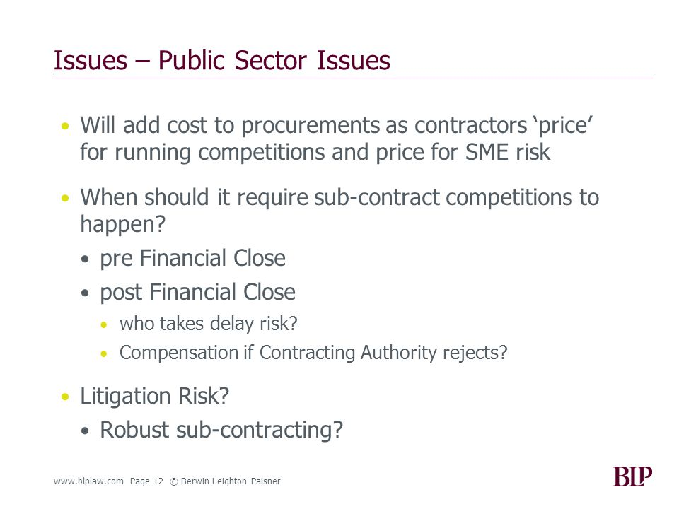 www.blplaw.com Page 12 © Berwin Leighton Paisner Issues – Public Sector Issues Will add cost to procurements as contractors 'price' for running competitions and price for SME risk When should it require sub-contract competitions to happen.