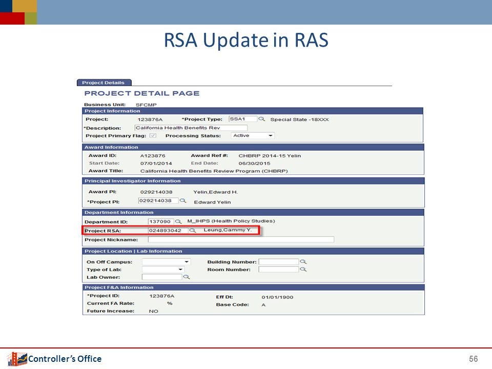 Controller's Office RSA Update in RAS 56