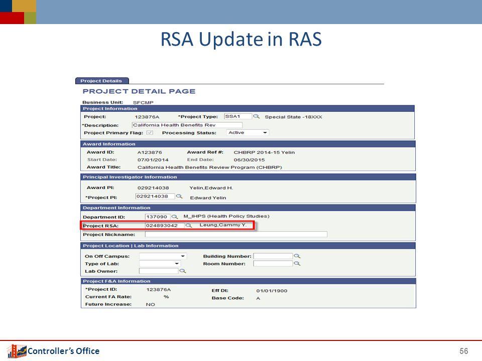 Controller's Office RSA Update in RAS 56
