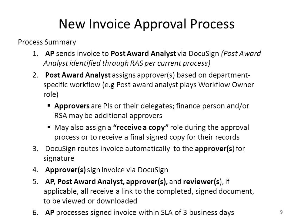 New Invoice Approval Process Process Summary 1.