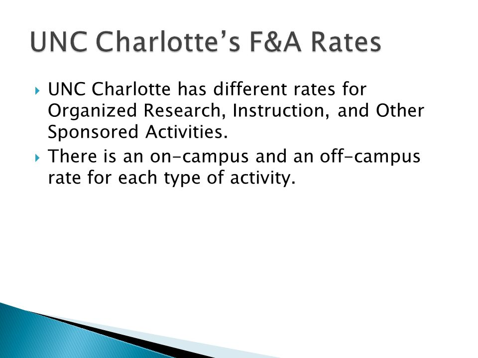  UNC Charlotte has different rates for Organized Research, Instruction, and Other Sponsored Activities.