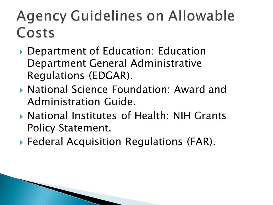  Department of Education: Education Department General Administrative Regulations (EDGAR).