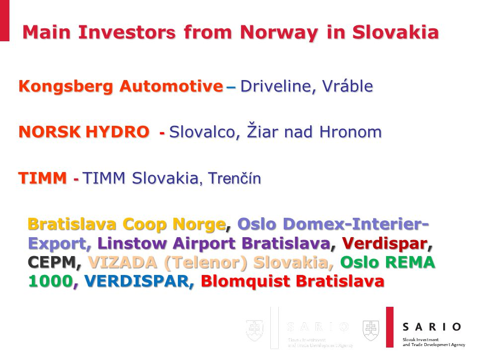 Main Investor s from Norway in Slovakia Kongsberg Automotive – Driveline, Vráble NORSK HYDRO - Slovalco, Žiar nad Hronom TIMM - TIMM Slovakia, Trenčín Bratislava Coop Norge, Oslo Domex-Interier- Export, Linstow Airport Bratislava, Verdispar, CEPM, VIZADA (Telenor) Slovakia, Oslo REMA 1000, VERDISPAR, Blomquist Bratislava Bratislava Coop Norge, Oslo Domex-Interier- Export, Linstow Airport Bratislava, Verdispar, CEPM, VIZADA (Telenor) Slovakia, Oslo REMA 1000, VERDISPAR, Blomquist Bratislava