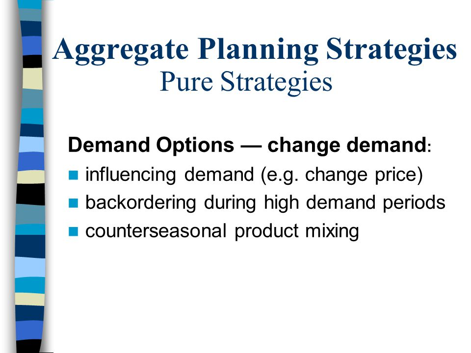 Meet demand (Sales Forecast) Use capacity efficiently Meet inventory policy Minimize cost –Labor –Inventory –Plant & equipment –Subcontract Aggregate