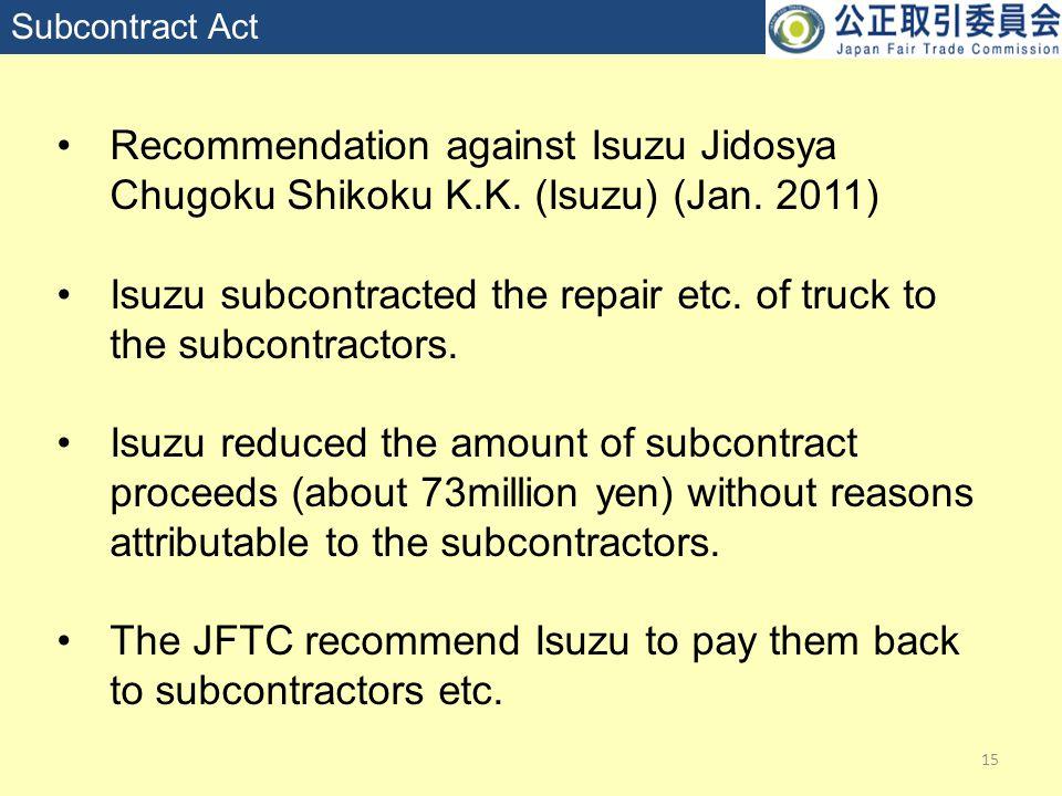 15 Subcontract Act Recommendation against Isuzu Jidosya Chugoku Shikoku K.K.
