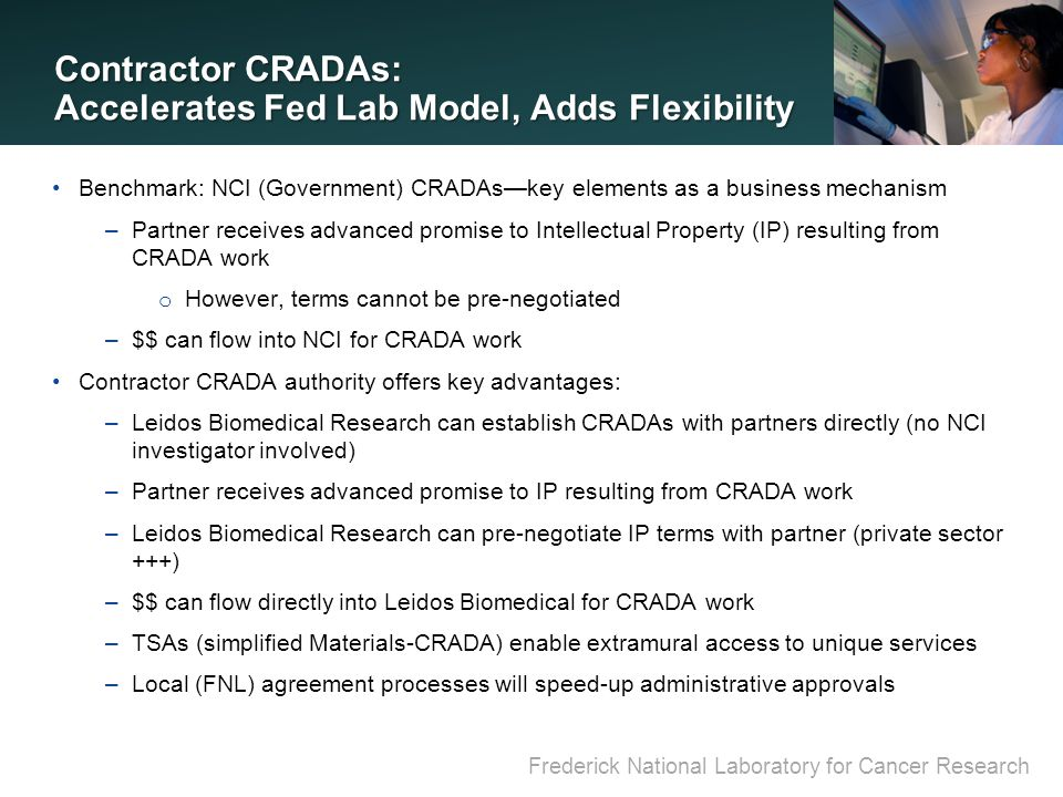 Frederick National Laboratory for Cancer Research Contractor CRADAs: Accelerates Fed Lab Model, Adds Flexibility Benchmark: NCI (Government) CRADAs—key elements as a business mechanism –Partner receives advanced promise to Intellectual Property (IP) resulting from CRADA work o However, terms cannot be pre-negotiated –$$ can flow into NCI for CRADA work Contractor CRADA authority offers key advantages: –Leidos Biomedical Research can establish CRADAs with partners directly (no NCI investigator involved) –Partner receives advanced promise to IP resulting from CRADA work –Leidos Biomedical Research can pre-negotiate IP terms with partner (private sector +++) –$$ can flow directly into Leidos Biomedical for CRADA work –TSAs (simplified Materials-CRADA) enable extramural access to unique services –Local (FNL) agreement processes will speed-up administrative approvals