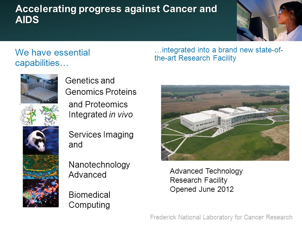 Frederick National Laboratory for Cancer Research Accelerating progress against Cancer and AIDS Genetics and Genomics Proteins …integrated into a brand new state-of- the-art Research Facility We have essential capabilities… and Proteomics Integrated in vivo Services Imaging and Nanotechnology Advanced Biomedical Computing Advanced Technology Research Facility Opened June 2012