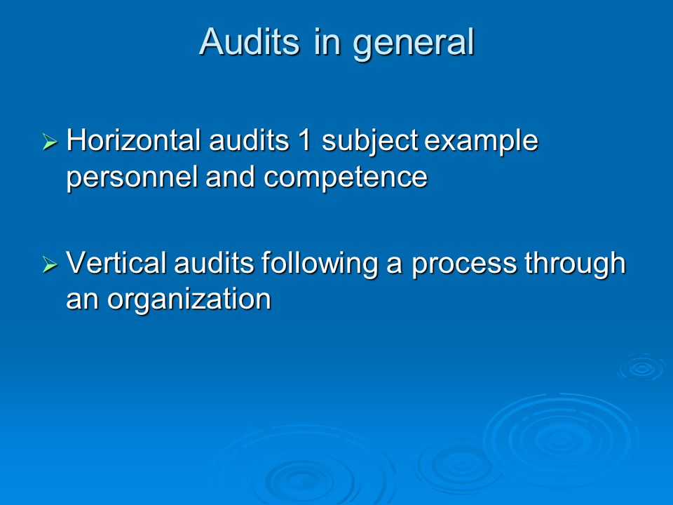 Audits in general  Horizontal audits 1 subject example personnel and competence  Vertical audits following a process through an organization