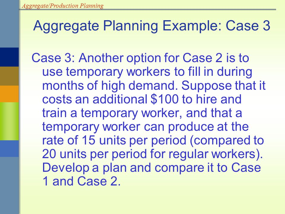 Aggregate/Production Planning Aggregate Planning Example: Case 3 Case 3: Another option for Case 2 is to use temporary workers to fill in during month