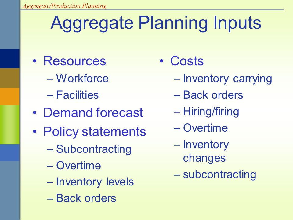 Aggregate/Production Planning Total cost of a plan Production/operation plan –Projected levels of Inventory Output Employment Subcontracting Backordering Aggregate Planning Outputs