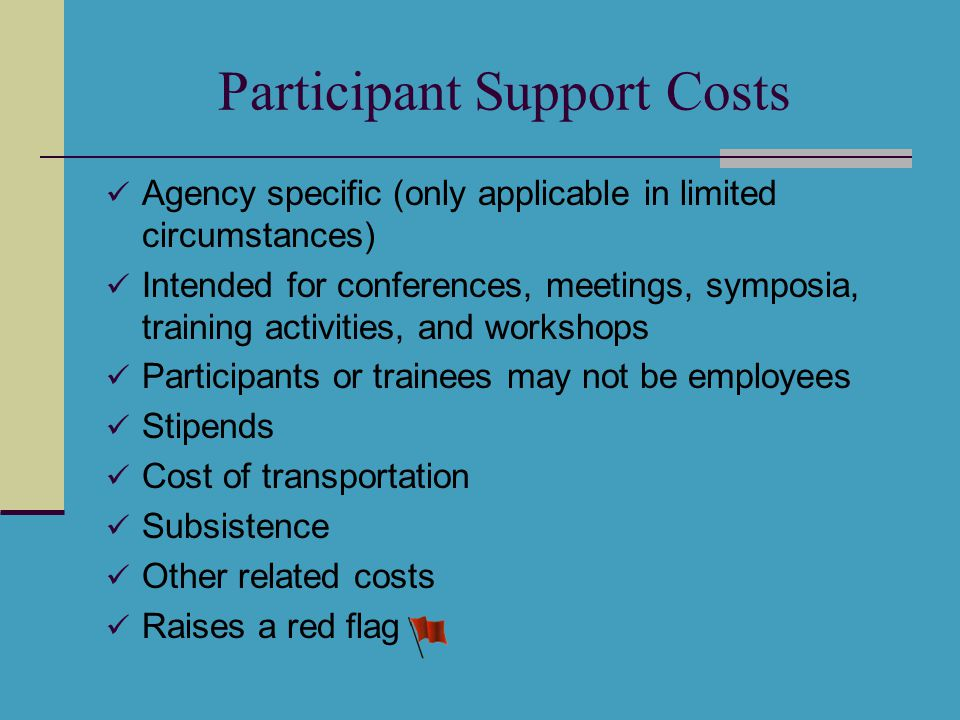 Participant Support Costs Agency specific (only applicable in limited circumstances) Intended for conferences, meetings, symposia, training activities, and workshops Participants or trainees may not be employees Stipends Cost of transportation Subsistence Other related costs Raises a red flag