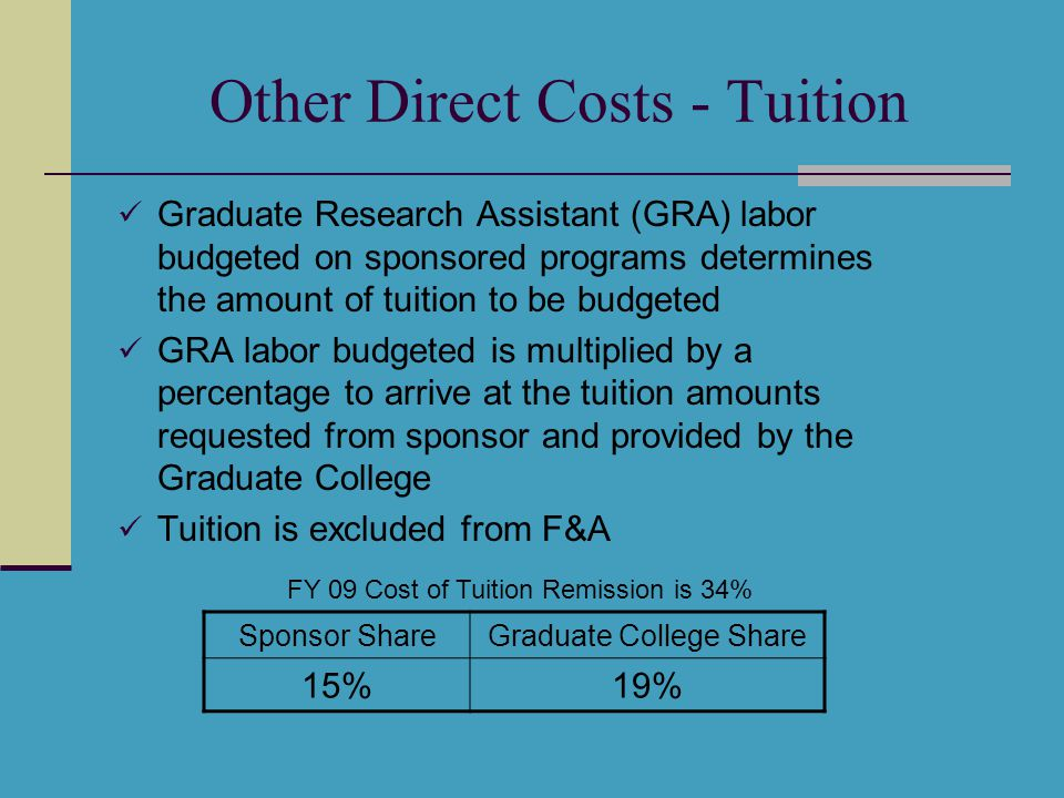 Other Direct Costs - Tuition Graduate Research Assistant (GRA) labor budgeted on sponsored programs determines the amount of tuition to be budgeted GRA labor budgeted is multiplied by a percentage to arrive at the tuition amounts requested from sponsor and provided by the Graduate College Tuition is excluded from F&A Sponsor ShareGraduate College Share 15%19% FY 09 Cost of Tuition Remission is 34%