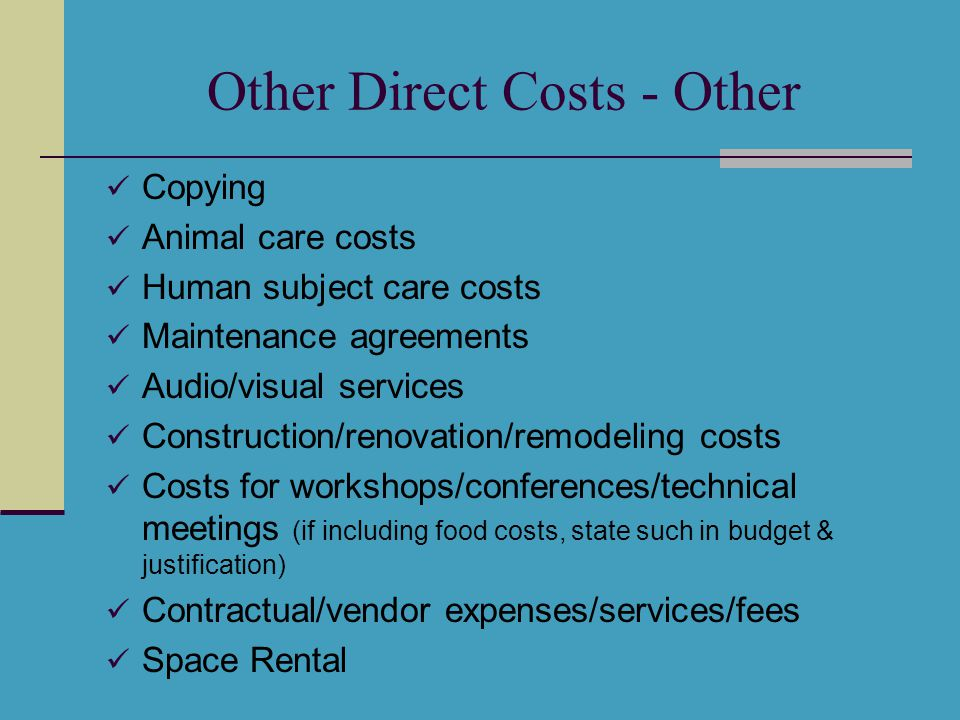 Other Direct Costs - Other Copying Animal care costs Human subject care costs Maintenance agreements Audio/visual services Construction/renovation/rem