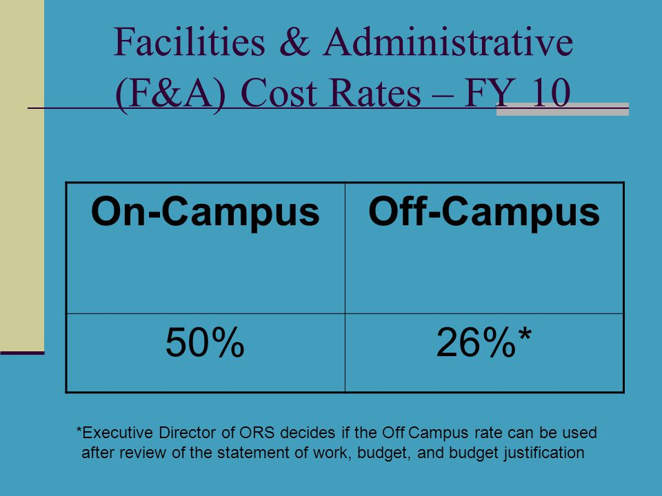 Facilities & Administrative (F&A) Cost Rates – FY 10 On-CampusOff-Campus 50%26%* *Executive Director of ORS decides if the Off Campus rate can be used after review of the statement of work, budget, and budget justification