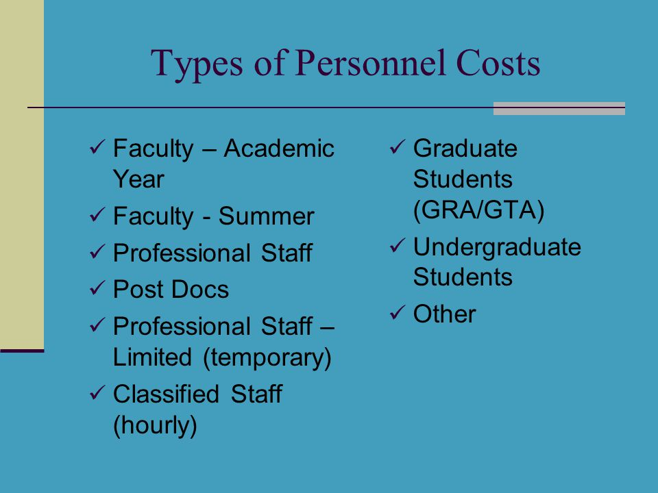 Types of Personnel Costs Faculty – Academic Year Faculty - Summer Professional Staff Post Docs Professional Staff – Limited (temporary) Classified Sta