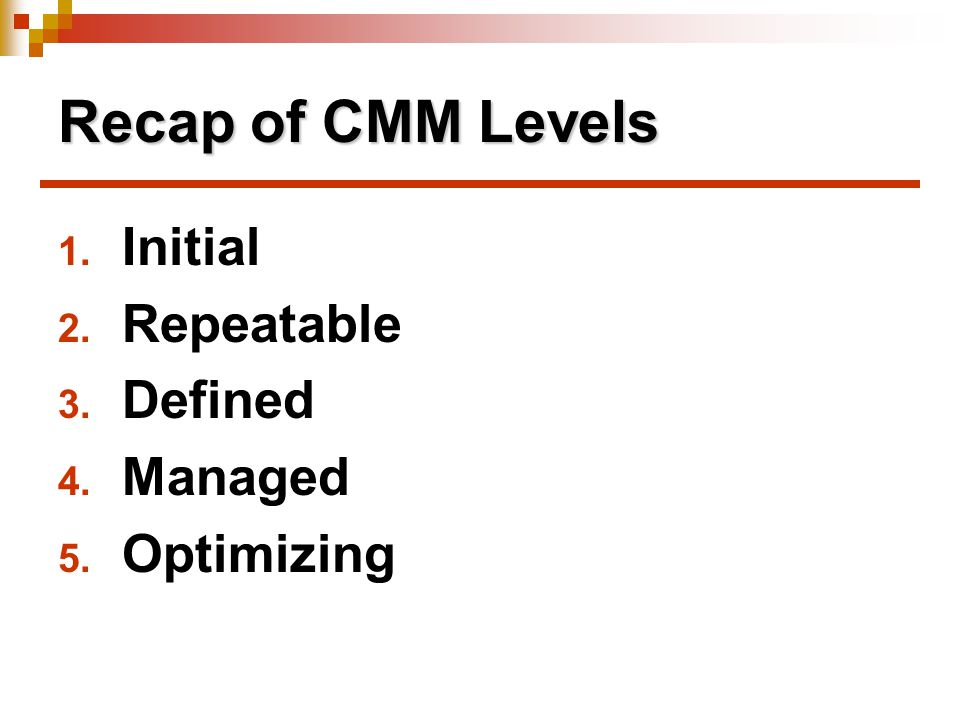 Recap of CMM Levels 1. Initial 2. Repeatable 3. Defined 4. Managed 5. Optimizing