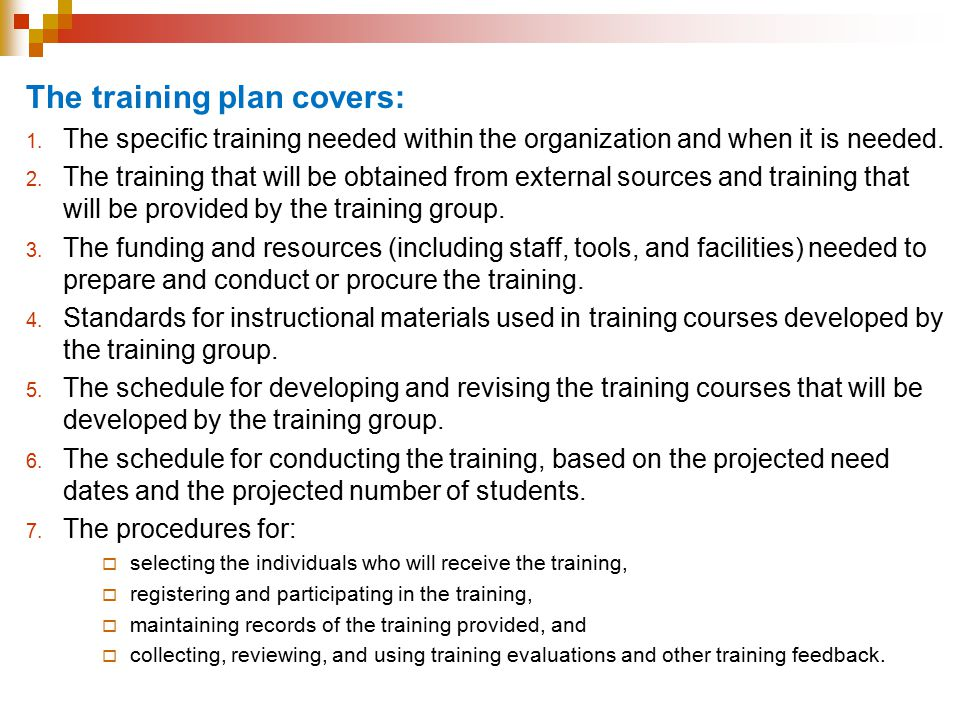 The training plan covers: 1.