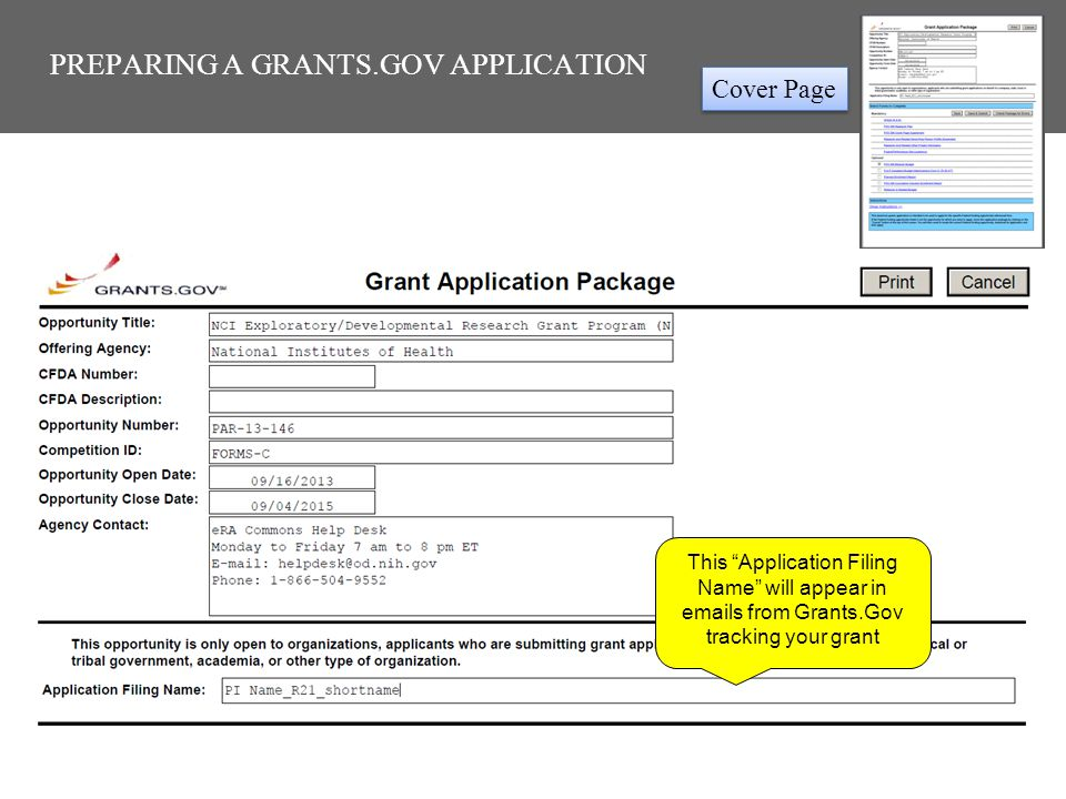 """PREPARING A GRANTS.GOV APPLICATION This """"Application Filing Name"""" will appear in emails from Grants.Gov tracking your grant Cover Page"""