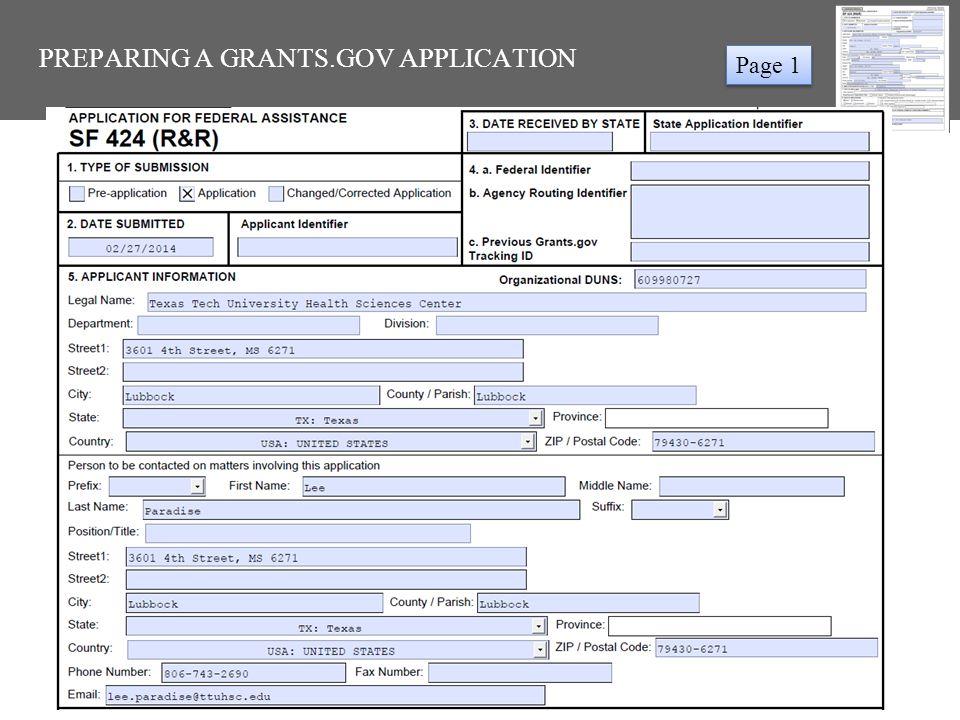 PREPARING A GRANTS.GOV APPLICATION Page 1