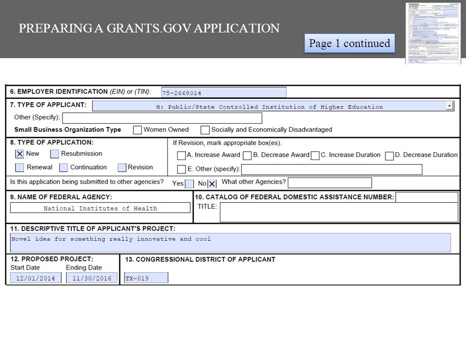 PREPARING A GRANTS.GOV APPLICATION Page 2 NIH: Requests equal to $500,000 or more require NIH PRIOR approval before submission Must complete all yellow boxes with red outlines
