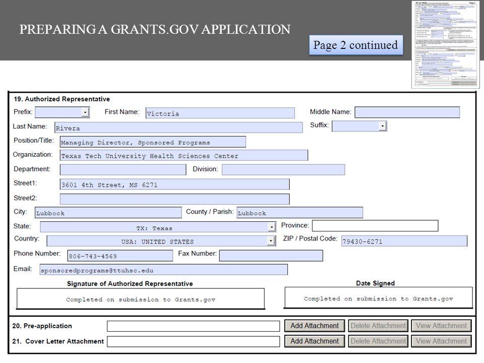 PREPARING A GRANTS.GOV APPLICATION Page 2 continued